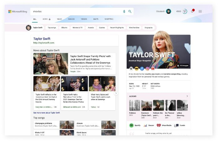 Bing search theme pages